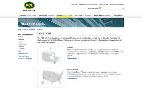 Screenshot of Locations Page pcl.com - Construction Companies Locations | PCL - captured Sept. 23, 2014