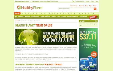 Screenshot of Terms Page healthyplanetcanada.com - Terms & Conditions | HealthyPlanetCanada.com - captured Sept. 23, 2014