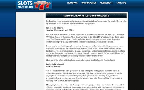 Screenshot of Team Page slotsformoney.com - Editorial Team at SlotsForMoney.com - captured May 23, 2016