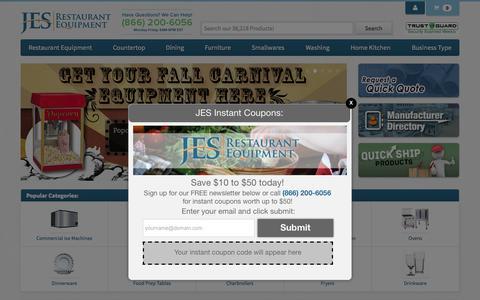 Screenshot of Home Page jesrestaurantequipment.com - Restaurant Supplies at JES Restaurant Equipment - captured Oct. 18, 2015