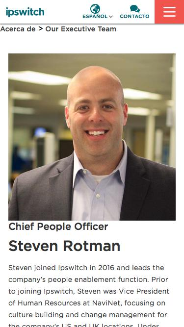 Screenshot of Team Page  ipswitch.com - Steven Rotman - Our Team - About Ipswitch - Ipswitch