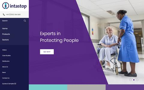 Screenshot of Home Page intastop.com - Wall Protection, Door Protection & Anti-Ligature | Intastop - captured Oct. 12, 2018