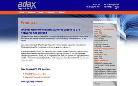 Screenshot of Products Page adax.com - Products – Adax: Flexible and Scalable Solutions for Legacy to LTE - captured May 29, 2017