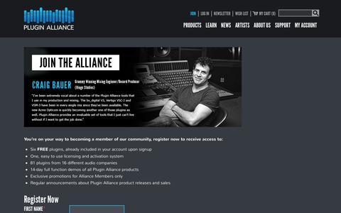 Screenshot of Signup Page plugin-alliance.com - Join - Plugin Alliance - captured Oct. 16, 2017
