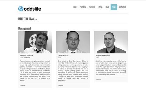 Screenshot of Team Page oddslife.com - Team   Oddslife    oddslife.com - captured June 16, 2015
