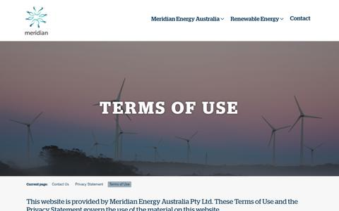 Screenshot of Terms Page meridianenergy.com.au - Terms of Use – Meridian Energy Australia - captured Oct. 17, 2018