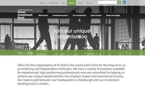 Screenshot of Jobs Page greeninvestmentbank.com - Green Investment Bank - Careers | Green Investment Bank - captured Sept. 30, 2014