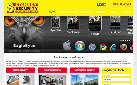 Screenshot of Home Page securityservices.net.au - Security solutions, home security, business and commercial - captured Oct. 1, 2014