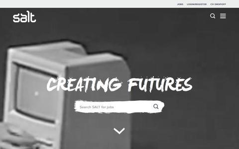 Screenshot of Home Page welovesalt.com - Digital Recruiters  | Salt Recruitment - captured Sept. 18, 2015