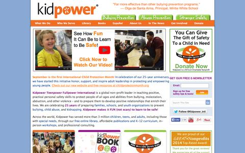 Screenshot of Home Page kidpower.org - Kidpower Personal Safety: Prevent Violence, Bullying & Abuse - captured Sept. 24, 2014