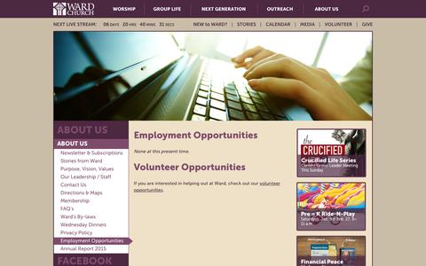 Screenshot of Jobs Page wardchurch.org - Employment Opportunities - Ward Church - captured Jan. 10, 2016