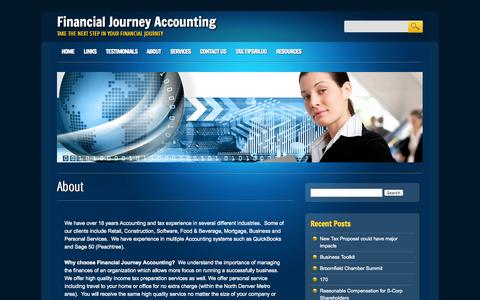 Screenshot of About Page financialjourney.net - Financial Journey Accounting  About | Financial Journey Accounting - captured Oct. 5, 2014