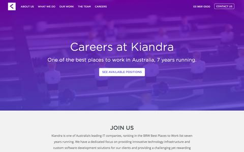 Screenshot of Jobs Page kiandra.com.au - Careers - Kiandra IT - captured Jan. 16, 2016