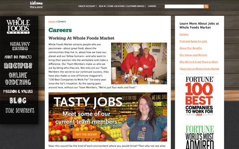 Screenshot of Jobs Page wholefoodsmarket.com - Careers | Whole Foods Market - captured Sept. 22, 2014