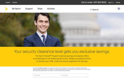 Screenshot of Landing Page sprint.com - Sprint Works Program - Federal Government - captured Sept. 19, 2018