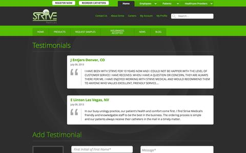 Screenshot of Testimonials Page strivemedical.com - Testimonials :: Strive Medical Wound Care & Urologicals - captured Feb. 25, 2016
