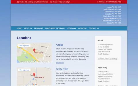 Screenshot of Locations Page ckakids.com - Creative Kids Academy   Child Care Locations Twin Cities MN - captured Feb. 1, 2016