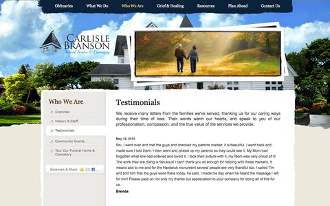 Screenshot of Testimonials Page carlislebranson.com - Carlisle Branson Funeral Home | Reviews | Testimonials - captured Oct. 2, 2014