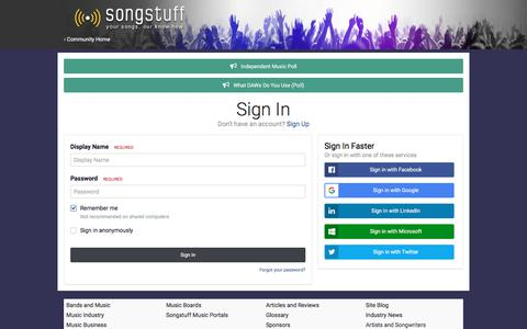 Screenshot of Login Page songstuff.com - Sign In - Songwriting and Music Forum - captured Sept. 23, 2018