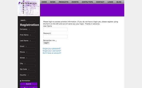 Screenshot of Login Page proteomicsconsult.com - Login - Proteomics Consult - captured Sept. 30, 2014