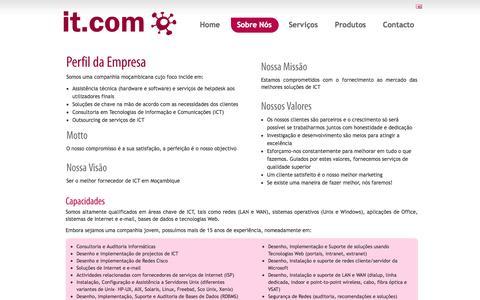 Screenshot of About Page itcom.co.mz - it.com - captured Sept. 30, 2014