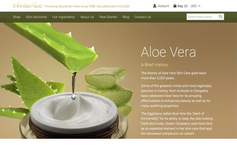 Screenshot of About Page infinitealoe.com - Aloe: A Brief History - captured July 28, 2018