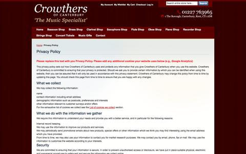 Screenshot of Privacy Page crowthersofcanterbury.co.uk - Privacy Policy - captured Sept. 30, 2014