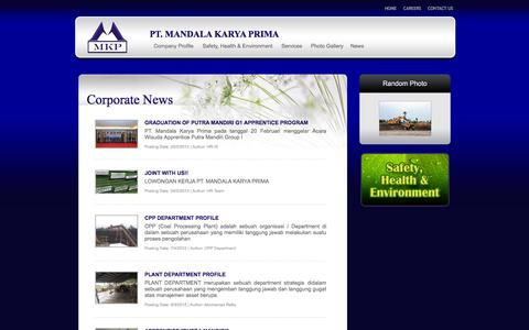 Screenshot of Press Page mkpmining.co.id - Corporate News - captured Oct. 1, 2014
