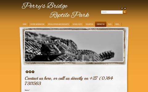 Screenshot of Contact Page perrysbridgereptilepark.com - Contact us - Perry's Bridge          Reptile Park - captured Sept. 26, 2014