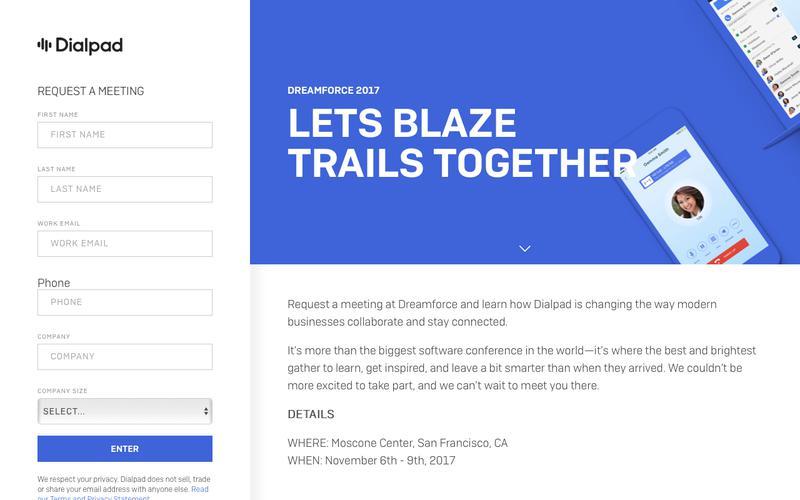 Dreamforce 2017 Meeting Request | Dialpad