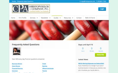 Screenshot of FAQ Page hristopoulos.com - CPA's Tax Reduction Specialis and Tax Planning Strategy - captured Oct. 3, 2014