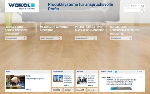 Screenshot of Home Page wakol.com - Wakol Verlegewerkstoffe, Sealing Compounds, Schaumklebstoffe, Schuhklebstoffe - captured Dec. 10, 2016