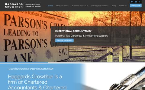 Screenshot of Home Page haggards.co.uk - Chartered Accountants & Tax Advisers in Parsons Green and Putney • HAGGARDS CROWTHER. - captured Jan. 24, 2016