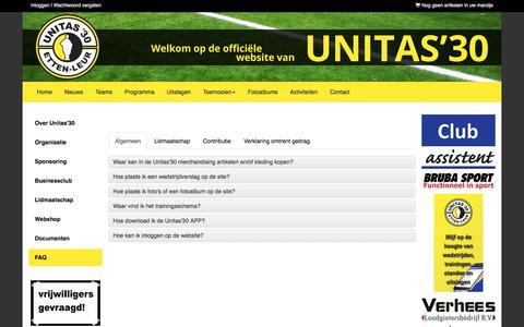 Screenshot of FAQ Page unitas30.nl - Unitas'30 - voetbal - Etten-Leur - captured Sept. 26, 2017