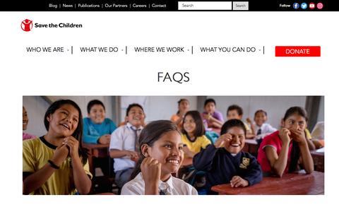 Screenshot of FAQ Page savethechildren.ca - FAQs – Save The Children Canada - captured Nov. 19, 2016