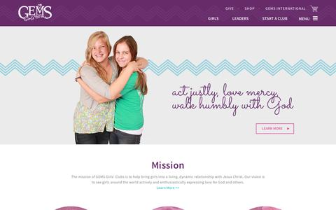 Screenshot of Home Page gemsgc.org - GEMS Girls' Clubs - captured Oct. 6, 2016