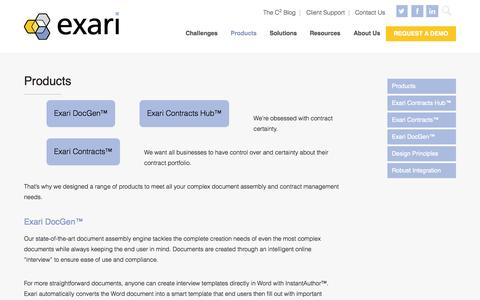 Screenshot of Products Page exari.com - Contract Management & Document Products | Exari - captured Nov. 18, 2015
