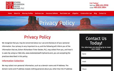Screenshot of Privacy Page realestatelawfirmphoenix.com - Privacy Policy | Real Estate Attorney in Phoenix - captured Nov. 25, 2016