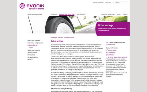 Drive savings - Evonik Industries - Specialty Chemicals