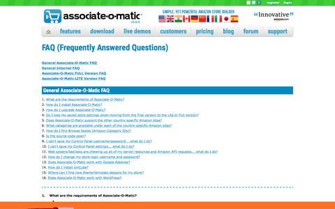 Screenshot of FAQ Page associate-o-matic.com - Associate-O-Matic   FAQ - captured July 31, 2018