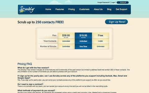Screenshot of Pricing Page scrubly.com - Pricing and Licensing FAQ | Scrubly - captured Nov. 3, 2014