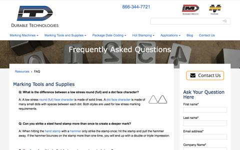 Screenshot of FAQ Page durable-tech.com - Frequently Asked Questions | Durable Technologies - captured Oct. 13, 2017