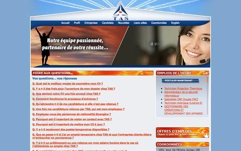 Screenshot of FAQ Page tas.ca - Agence de placement TAS recrutement emplois Aéronautique - captured Oct. 26, 2014