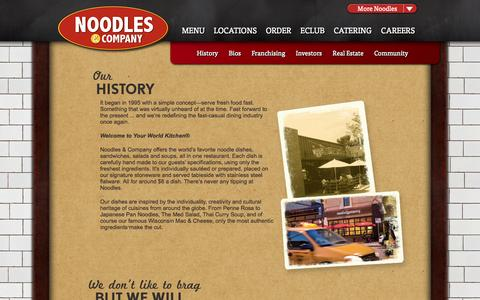 Screenshot of About Page noodles.com - Noodles & Company: Our History - captured Sept. 22, 2014