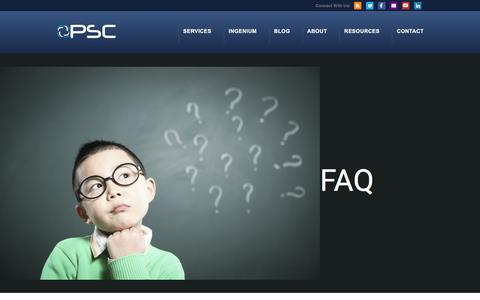 Screenshot of FAQ Page proservicescorp.com - FAQ | About | PSC | ProServices Corp. - captured Jan. 23, 2016