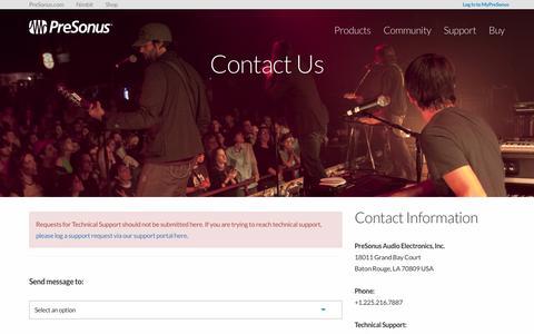 Screenshot of Contact Page presonus.com - Contact Us | PreSonus - captured Sept. 4, 2016