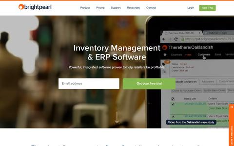 Screenshot of Home Page brightpearl.com - Inventory Management & ERP Software | Brightpearl - captured Feb. 7, 2016
