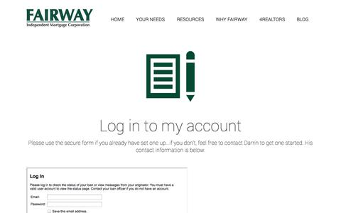 Screenshot of Login Page getyourmortgagenow.com - Log me in to my Fairway Account - captured Sept. 25, 2014
