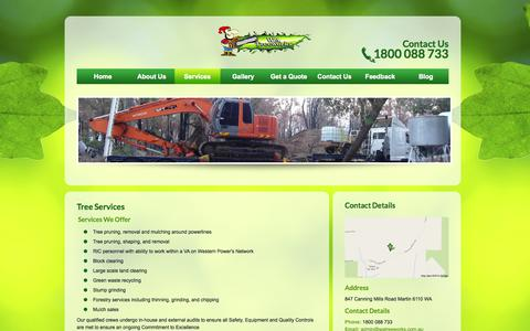 Screenshot of Services Page watreeworks.com.au - Tree Services | WA Treeworks - captured Sept. 30, 2014