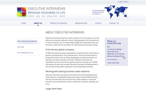 Screenshot of About Page executiveinterviews.biz - About Executive Interviews –  Executive Interviews – Bringing your news to life - captured Sept. 23, 2014